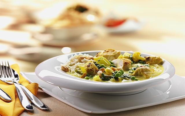Verduras  al curry con pechuga de pollo